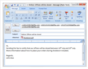 GFI FaxMaker Compose a fax in Outlook