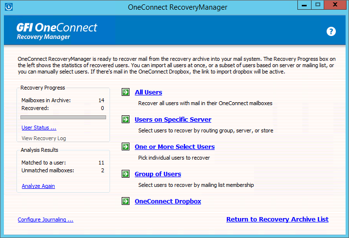GFI OneConnect Recovery manager