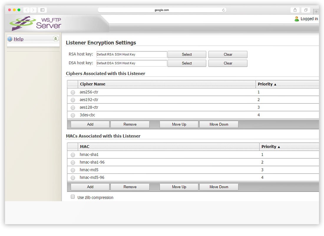 Listener Encryption Settings
