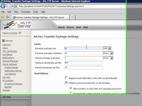 Ad Hoc Transfer Package Settings
